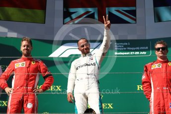 World © Octane Photographic Ltd. Formula 1 – Hungarian GP - Podium. Mercedes AMG Petronas Motorsport AMG F1 W09 EQ Power+ - Lewis Hamilton and Scuderia Ferrari SF71-H – Sebastian Vettel and Kimi Raikkonen. Hungaroring, Budapest, Hungary. Sunday 29th July 2018.