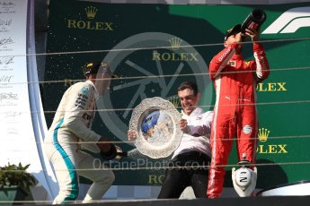 World © Octane Photographic Ltd. Formula 1 – Hungarian GP - Podium. Scuderia Ferrari SF71-H – Sebastian Vettel, Mercedes AMG Petronas Motorsport AMG F1 W09 EQ Power+ - Lewis Hamilton and Riccardo Musconi - Senior Race Engineer car #44. Hungaroring, Budapest, Hungary. Sunday 29th July 2018.