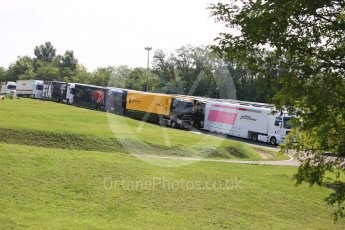 World © Octane Photographic Ltd. Formula 1 – Hungarian GP - Practice 1. Some of the F1 transporters parked up. Hungaroring, Budapest, Hungary. Friday 27th July 2018.