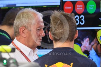 World © Octane Photographic Ltd. Formula 1 – Hungarian GP - Practice 1. Aston Martin Red Bull Racing TAG Heuer RB14 – Max Verstappen and Helmut Marko - advisor to the Red Bull GmbH Formula One Teams and head of Red Bull's driver development program. Hungaroring, Budapest, Hungary. Friday 27th July 2018.