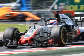World © Octane Photographic Ltd. Formula 1 – Hungarian GP - Practice 3. Haas F1 Team VF-18 – Romain Grosjean and McLaren MCL33 – Stoffel Vandoorne. Hungaroring, Budapest, Hungary. Saturday 28th July 2018.