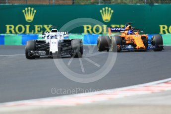 World © Octane Photographic Ltd. Formula 1 – Hungarian GP - Practice 3. Williams Martini Racing FW41 – Lance Stroll and McLaren MCL33 – Fernando Alonso. Hungaroring, Budapest, Hungary. Saturday 28th July 2018.