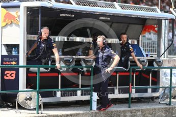 World © Octane Photographic Ltd. Formula 1 - Hungarian GP - Practice 3. Christian Horner - Team Principal and Jonathan Wheatley - Team Manager of Red Bull Racing. Hungaroring, Budapest, Hungary. Friday 27th July 2018.