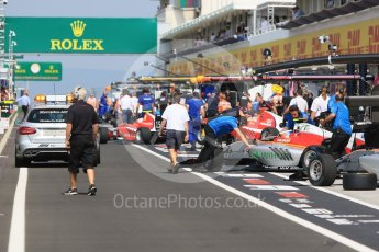 World © Octane Photographic Ltd. GP3 – Hungarian GP – Qualifying. Campos Racing in thw busy pre-qualifying pitlane. Hungaroring, Budapest, Hungary. Saturday 28th July 2018.