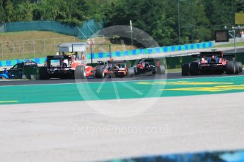 World © Octane Photographic Ltd. GP3 – Hungarian GP – Race 2. The pack head through turn 2. Hungaroring, Budapest, Hungary. Sunday 29th July 2018.
