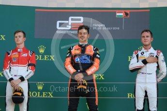 World © Octane Photographic Ltd. GP3 – Hungarian GP – Race 2. MP Motorsport - Dorian Boccolacci and ART Grand Prix - Callum Illot and Anthoine Hubert. Hungaroring, Budapest, Hungary. Sunday 29th July 2018.