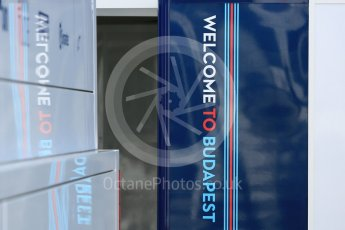 World © Octane Photographic Ltd. Formula 1 – Hungarian GP - Paddock. Williams Martini Racing - Welcome to Budapest sign. Hungaroring, Budapest, Hungary. Thursday 26th July 2018.