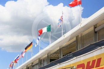 World © Octane Photographic Ltd. Formula 1 – Hungarian GP - Paddock. Flags flying over the pitlane. Hungaroring, Budapest, Hungary. Thursday 26th July 2018.