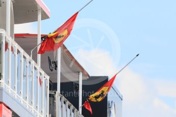 World © Octane Photographic Ltd. Formula 1 – Hungarian GP - Paddock. Scuderia Ferrari flags at half mast and tied with black ribbon in memory of Sergio Marchionne who died 25th July. Hungaroring, Budapest, Hungary. Thursday 26th July 2018.