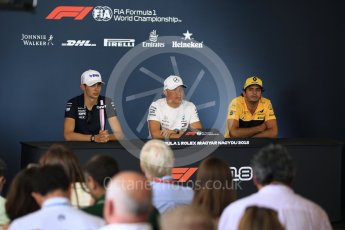 World © Octane Photographic Ltd. Formula 1 – Hungarian GP - FIA Drivers' Press Conference. Sahara Force India - Esteban Ocon, Mercedes AMG Petronas Motorsport - Valtteri Bottas and Renault Sport F1 Team – Carlos Sainz. Hungaroring, Budapest, Hungary. Thursday 26th July 2018.