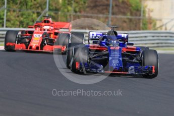 World © Octane Photographic Ltd. Formula 1 – Hungarian Post-Race Test - Day 1. Scuderia Toro Rosso STR13 – Brendon Hartley and Scuderia Ferrari SF71-H – Antonio Giovinazzi. Hungaroring, Budapest, Hungary. Tuesday 31st July 2018.