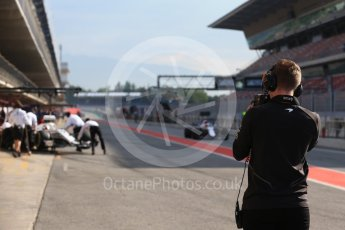 World © Octane Photographic Ltd. Formula 1 – In season test 1, day 2. McLaren member taking heat readings. Circuit de Barcelona-Catalunya, Spain. Wednesday 16th May 2018.
