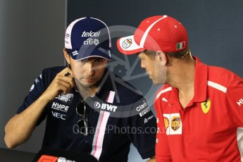 World © Octane Photographic Ltd. Formula 1 – Italian GP - FIA Drivers' Press Conference. Racing Point Force India - Sergio Perez and Scuderia Ferrari - Sebastian Vettel. Autodromo Nazionale di Monza, Monza, Italy. Thursday 30th August 2018.