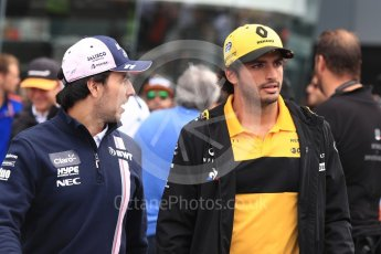 World © Octane Photographic Ltd. Formula 1 – Italian GP - Drivers Parade. Racing Point Force India VJM11 - Sergio Perez and Renault Sport F1 Team RS18 – Carlos Sainz. Autodromo Nazionale di Monza, Monza, Italy. Sunday 2nd September 2018.
