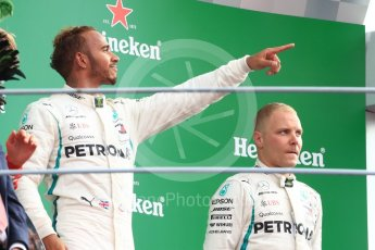 World © Octane Photographic Ltd. Formula 1 – Italian GP - Race - Podium. Mercedes AMG Petronas Motorsport AMG F1 W09 EQ Power+ - Lewis Hamilton and Valtteri Bottas. Autodromo Nazionale di Monza, Monza, Italy. Sunday 2nd September 2018.