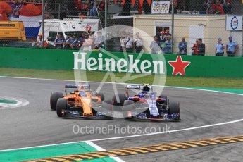 World © Octane Photographic Ltd. Formula 1 – Italian GP - Race. McLaren MCL33 – Fernando Alonso and Scuderia Toro Rosso STR13 – Pierre Gasly. Autodromo Nazionale di Monza, Monza, Italy. Sunday 2nd September 2018.