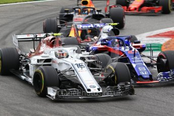 World © Octane Photographic Ltd. Formula 1 – Italian GP - Race. Scuderia Toro Rosso STR13 – Pierre Gasly and Alfa Romeo Sauber F1 Team C37 – Charles Leclerc. Autodromo Nazionale di Monza, Monza, Italy. Sunday 2nd September 2018.
