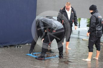 World © Octane Photographic Ltd. Formula 1 – Italian GP - Paddock. FOM nearly gets flooded as the drains back up. Autodromo Nazionale di Monza, Monza, Italy. Friday 31st August 2018.