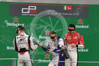 World © Octane Photographic Ltd. GP3 – Italian GP - Race 1. Trident - David Beckmann, ART Grand Prix - Callum Illot and Anthoine Hubert. Autodromo Nazionale di Monza, Monza, Italy. Saturday 1st September 2018.