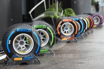 World © Octane Photographic Ltd. Formula 1 – Italian GP - Paddock. Pirelli tyre range. Autodromo Nazionale di Monza, Monza, Italy. Saturday 1st September 2018.