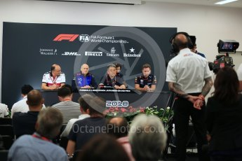 Christian Horner - Team Principal of Red Bull Racing, Franz Tost – Team Principal of Scuderia Toro Rosso, Frederic Vasseur – Team Principal and CEO of Sauber Motorsport AG and Masashi Yamamoto - General Manager of Honda's motorsport division. Suzuka Circuit, Japan. Friday 5th October 2018.