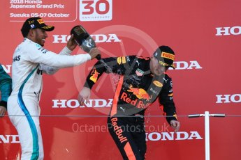 World © Octane Photographic Ltd. Formula 1 – Japanese GP – Podium. Mercedes AMG Petronas Motorsport AMG F1 W09 EQ Power+ - Lewis Hamilton and Aston Martin Red Bull Racing TAG Heuer RB14 – Max Verstappen. Suzuka Circuit, Japan. Sunday 7th October 2018.