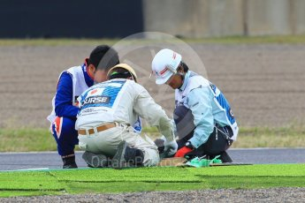 World © Octane Photographic Ltd. Formula 1 – Japanese GP - Practice 1. Repairs to trackside astro turf. Suzuka Circuit, Japan. Friday 5th October 2018.
