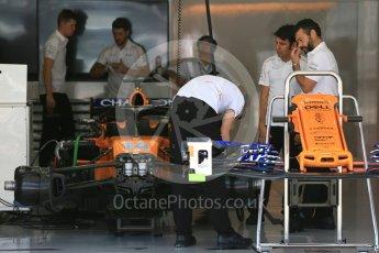 World © Octane Photographic Ltd. Formula 1 – Japanese GP - Pit Lane. McLaren MCL33 – Fernando Alonso race day setup. Suzuka Circuit, Japan. Sunday 7th October 2018.