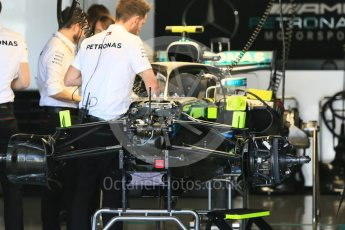 World © Octane Photographic Ltd. Formula 1 – Japanese GP - Pit Lane. Mercedes AMG Petronas Motorsport AMG F1 W09 EQ Power+ - Valtteri Bottas race day setup. Suzuka Circuit, Japan. Sunday 7th October 2018.