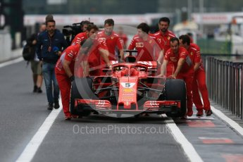 World © Octane Photographic Ltd. Formula 1 – Japanese GP - Pit Lane. Scuderia Ferrari SF71-H – Sebastian Vettel. Suzuka Circuit, Japan. Thursday 4th October 2018.