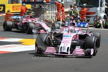 World © Octane Photographic Ltd. Formula 1 – Monaco GP - Practice 3. Sahara Force India VJM11 - Sergio Perez and Esteban Ocon. Monte-Carlo. Saturday 26th May 2018.