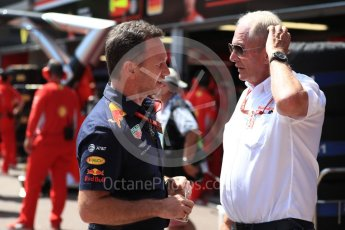 World © Octane Photographic Ltd. Formula 1 - Monaco GP - Practice 3. Christian Horner - Team Principal of Red Bull Racing and Helmut Marko - advisor to the Red Bull GmbH Formula One Teams and head of Red Bull's driver development program. Monte-Carlo. Saturday 26th May 2018.