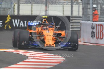 World © Octane Photographic Ltd. Formula 1 – Monaco GP - Practice 1. McLaren MCL33 – Stoffel Vandoorne. Monte-Carlo. Thursday 24th May 2018.