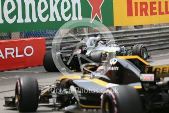 World © Octane Photographic Ltd. Formula 1 – Monaco GP - Practice 1. Mercedes AMG Petronas Motorsport AMG F1 W09 EQ Power+ - Lewis Hamilton and Renault Sport F1 Team RS18 – Carlos Sainz. Monte-Carlo. Thursday 24th May 2018.