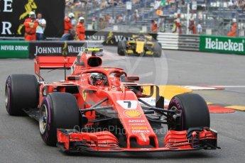 World © Octane Photographic Ltd. Formula 1 – Monaco GP - Practice 2. Scuderia Ferrari SF71-H – Kimi Raikkonen and Renault Sport F1 Team RS18 – Carlos Sainz. Monte-Carlo. Thursday 24th May 2018.