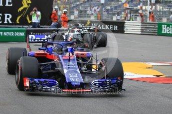 World © Octane Photographic Ltd. Formula 1 – Monaco GP - Practice 2. Scuderia Toro Rosso STR13 – Brendon Hartley and Haas F1 Team VF-18 – Romain Grosjean. Monte-Carlo. Thursday 24th May 2018.
