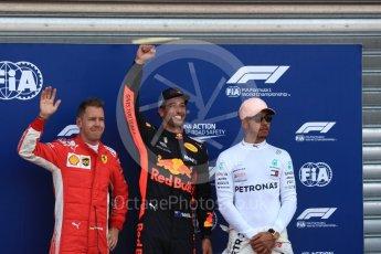 World © Octane Photographic Ltd. Formula 1 – Monaco GP - Qualifying. Aston Martin Red Bull Racing TAG Heuer RB14 – Daniel Ricciardo, Scuderia Ferrari SF71-H – Sebastian Vettel and Mercedes AMG Petronas Motorsport AMG F1 W09 EQ Power+ - Lewis Hamilton. Monte-Carlo. Saturday 26th May 2018.