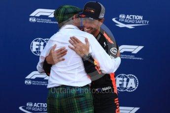 World © Octane Photographic Ltd. Formula 1 – Monaco GP - Qualifying. Aston Martin Red Bull Racing TAG Heuer RB14 – Daniel Ricciardo and Sir Jackie Stewart. Monte-Carlo. Saturday 26th May 2018.