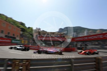 World © Octane Photographic Ltd. Formula 1 – Monaco GP - Qualifying. Mercedes AMG Petronas Motorsport AMG F1 W09 EQ Power+ - Lewis Hamilton, Sahara Force India VJM11 - Esteban Ocon and Scuderia Ferrari SF71-H – Sebastian Vettel. Monte-Carlo. Saturday 26th May 2018.
