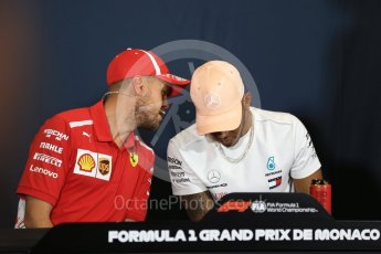 World © Octane Photographic Ltd. Formula 1 – Monaco GP –Drivers Press Conference. Scuderia Ferrari – Sebastian Vettel and Mercedes AMG Petronas Motorsport - Lewis Hamilton. Monte-Carlo. Wednesday 23rd May 2018.