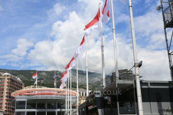 World © Octane Photographic Ltd. Formula 1 – Monaco GP - Setup. McLaren MCL33. Pitlane with flags flying. Wednesday 23rd May 2018.
