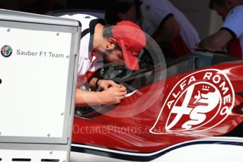 World © Octane Photographic Ltd. Formula 1 – Monaco GP - Setup. Alfa Romeo Sauber F1 Team C37. Monte-Carlo. Wednesday 23rd May 2018.