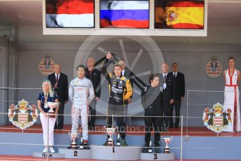 World © Octane Photographic Ltd. FIA Formula 2 (F2) – Monaco GP - Race 1 Podium. Russian Time - Artem Markelov, Prema Powerteam - Sean Gelael and MP Motorsport - Roberto Merhi. Monte Carlo. Friday 25th May 2018