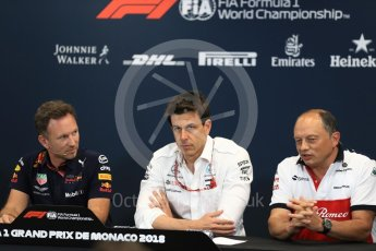 World © Octane Photographic Ltd. Formula 1 – Monaco GP – Team Personnel Press Conference. Christian Horner - Team Principal of Red Bull Racing, Toto Wolff - Executive Director & Head of Mercedes-Benz Motorsport, Frederic Vasseur – Team Principal and CEO of Sauber Motorsport AG. Monte-Carlo. Thursday 24th May 2018.