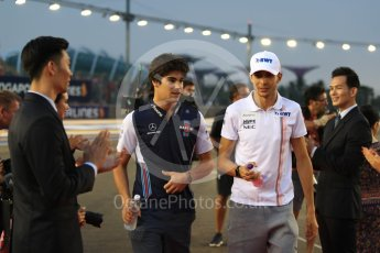 World © Octane Photographic Ltd. Formula 1 – Singapore GP - Drivers Parade. Racing Point Force India VJM11 - Esteban Ocon and Williams Martini Racing FW41 – Lance Stroll. Marina Bay Street Circuit, Singapore. Sunday 16th September 2018.