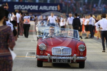 World © Octane Photographic Ltd. Formula 1 – Singapore GP - Drivers Parade. Haas F1 Team VF-18 – Kevin Magnussen. Marina Bay Street Circuit, Singapore. Sunday 16th September 2018.