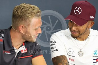 World © Octane Photographic Ltd. Formula 1 – Italian GP - FIA Drivers' Press Conference. Mercedes AMG Petronas Motorsport - Lewis Hamilton and Haas F1 Team – Kevin Magnussen. Marina Bay Street Circuit, Singapore. Thursday 13th September 2018.