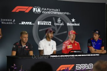 World © Octane Photographic Ltd. Formula 1 – Italian GP - FIA Drivers' Press Conference Mercedes AMG Petronas Motorsport - Lewis Hamilton, Scuderia Toro Rosso – Brendon Hartley, Haas F1 Team – Kevin Magnussen and Scuderia Ferrari - Kimi Raikkonen. Marina Bay Street Circuit, Singapore. Thursday 13th September 2018.