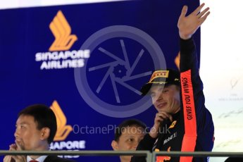 World © Octane Photographic Ltd. Formula 1 – Singapore GP - Race Podium. Aston Martin Red Bull Racing TAG Heuer RB14 – Max Verstappen. Marina Bay Street Circuit, Singapore. Sunday 16th September 2018.