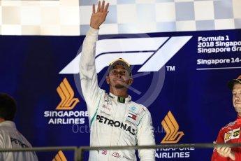 World © Octane Photographic Ltd. Formula 1 – Singapore GP – Race Podium. Mercedes AMG Petronas Motorsport AMG F1 W09 EQ Power+ - Lewis Hamilton. Marina Bay Street Circuit, Singapore. Sunday 16th September 2018.
